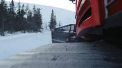 Moving track of the snowcat machine preparing ski slope in Trysil, Norway. Stock Footage