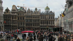 Brussels, Belgium. Grand Place, time lapse. Crowd, people. Timelapse. Stock Footage