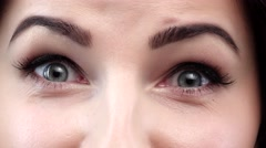 Amazing view of a girl wiht blue eyes. Closeup Stock Footage