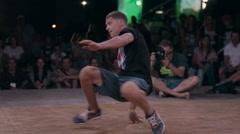 Breakdancer Dancing Breakdance on the Dance Floor in the Evening - stock footage