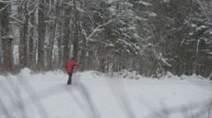 View of a man ski touring in Hallstatt Stock Footage