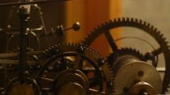 Close up of a internal clock mechanism Stock Footage