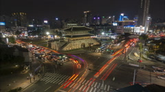 Historic city gate temple, night time traffic time lapse, Seoul, South Korea - stock footage