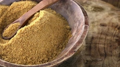 Portion of brown Coconut Sugar (not loopable; 4K) - stock footage
