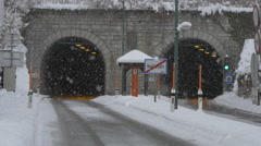Two tunnels at the exit of Hallstatt on a winter day Stock Footage