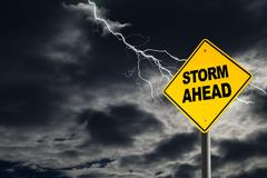 Storm Ahead Warning Sign in Thunderous Background Stock Photos