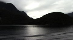 Milford Sound Fjords overcast sunset - stock footage