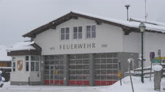 View of the fire station on a winter day, Hallstatt Stock Footage