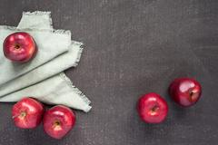 Five apples on a painted background Stock Photos