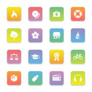 Gradient colored flat safety and miscellaneous icon set on rounded rectangle Stock Illustration