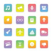 gradient colored flat transport and miscellaneous icon set on rounded rectangle - stock illustration