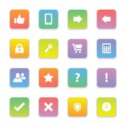 gradient colored flat computer and miscellaneous icon set on rounded rectangle - stock illustration
