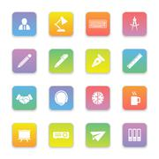 gradient colored flat business and office icon set on rounded rectangle - stock illustration