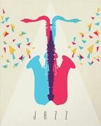 Jazz music saxophone band color concept design Piirros