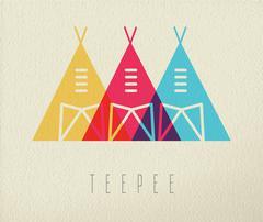 Tepee native american icon concept color design Piirros