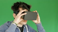 Boy with 3D glasses - VR Stock Footage