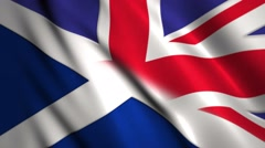 British and Scottish flags, blended together concept for Scottish independence Stock Footage