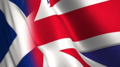 British and Scottish flags, blended together concept for Scottish independence - stock footage