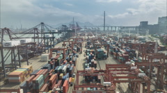 Time lapse of the Hong Kong container terminal, China, Asia, port, harbor - stock footage