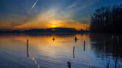 Sunrise over lake in Mazury lake district, 4k timelapse Stock Footage