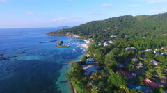 Aerial view of Jetty in La Digue Island, Seychelles. Stock Footage