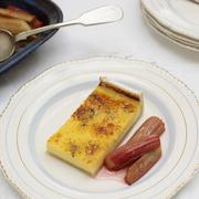 Plate of rhubarb and egg custard - stock photo