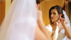 Young smiling bride preparing for the best day of her life called wedding Stock Footage