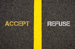 Antonym concept of ACCEPT versus REFUSE Stock Photos