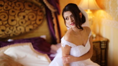 Incredibly beautiful bride wearing beautiful fashionable white wedding dress Stock Footage