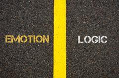 Antonym concept of EMOTION versus LOGIC - stock photo