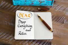 Business Acronym DEAR as Drop Everything and Relax - stock photo