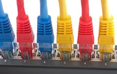 network cables connected to router - stock photo