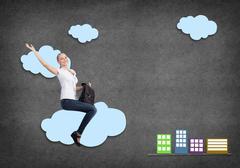Girl riding cloud Stock Photos
