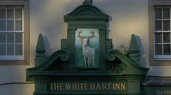 The White Hart Inn with a deer bas relief in Edinburgh, UK Stock Footage