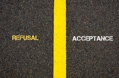 Antonym concept of REFUSAL versus ACCEPTANCE Stock Photos