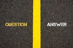Antonym concept of QUESTION versus ANSWER - stock photo