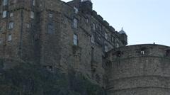 The old Edinburgh Castle building on Castle Rock in Edinburgh, UK Stock Footage