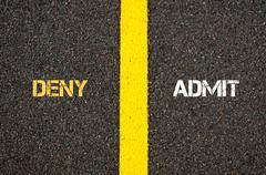 Antonym concept of DENY versus ADMIT - stock photo
