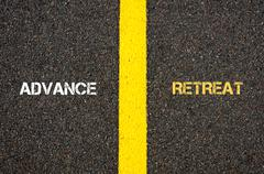 Antonym concept of ADVANCE versus RETREAT - stock photo
