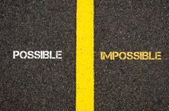 Antonym concept of POSSIBLE versus IMPOSSIBLE - stock photo