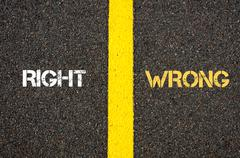 Antonym concept of RIGHT versus WRONG - stock photo