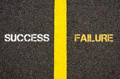 Antonym concept of SUCCESS versus FAILURE - stock photo