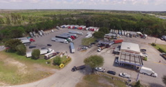 Truckstop Aerial View Stock Footage