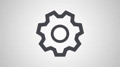 4K - Gear icon symbol round logo - stock footage