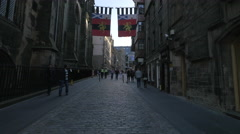 People walking on the Royal Mile, Edinburgh - stock footage