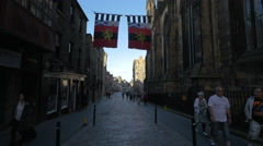 Walking on the Royal Mile near The Hub cafe, Edinburgh - stock footage