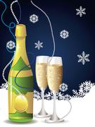 Card with champagne - stock illustration
