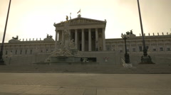 Austrian Parliament Building exterior at dawn, Vienna Stock Footage