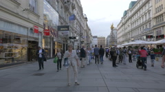 Tourists taking pictures and walking on Graben street in Vienna Stock Footage