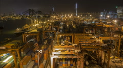 Hong Kong container terminal, harbor, port, night time lapse, China Stock Footage